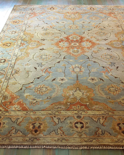 Damask on Blue Oushak Rug, 6' x 9'