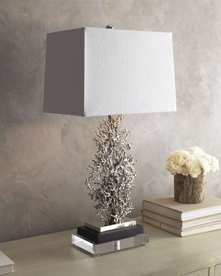 SILVER PLATED CORAL LAMP
