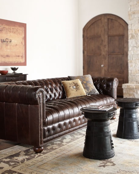 Royal Leather Chesterfield Sofa 93""