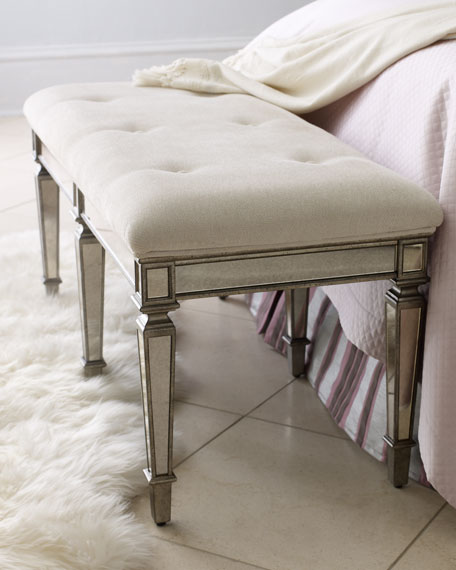 Antique Bed Stool: Denison Mirrored Bench