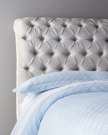Silver Tufted Queen Bed