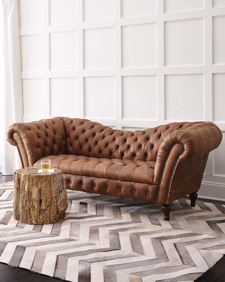 "Cheap Wholesale Furniture Online: Oak Leather Recamier Sofa 90.25"""