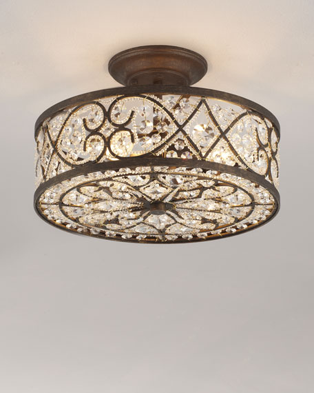 Woven Crystal Semi Flush Ceiling Fixture