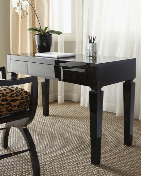 Attirant Black Glass Writing Table