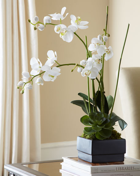 John Richard Collection White Orchid In Black Planter Faux