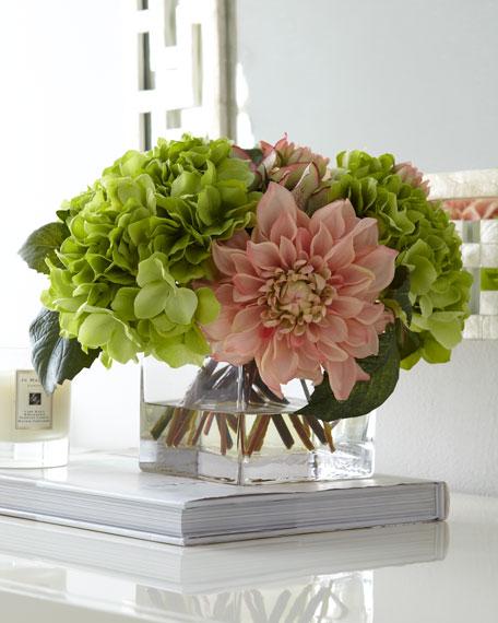 John Richard Collection Pale Pink Green Faux Floral Arrangement