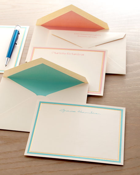 50 Pastel and Gold Bordered Cards/Plain Envelopes