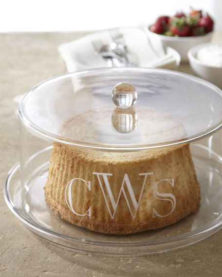 & Monogrammed Cake Plate With Dome
