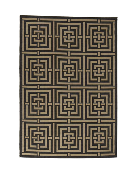 "Square Graphic Flatweave Rug, 5'3"" x 7'7"""