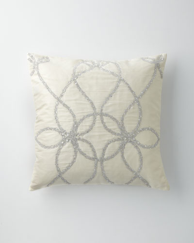 Ivory Silk Pillow with Silver Beading, 22