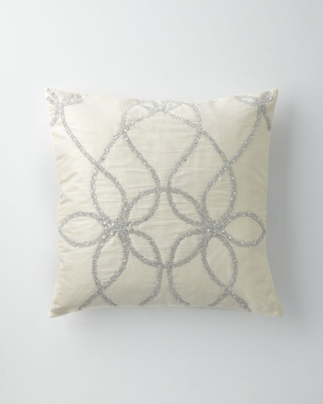 "Ivory Silk Pillow with Silver Beading, 22""Sq."