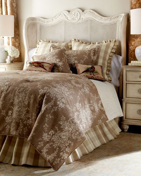 """Country House Toile/Check Reversible Pillow, 18""""Sq."""