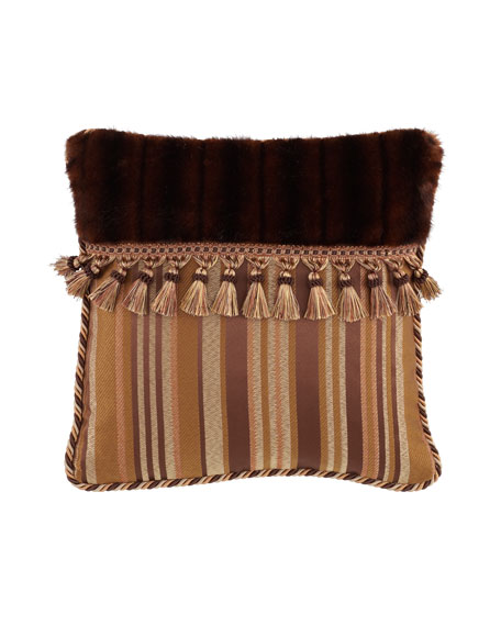 "Carlisle Pillow with Faux-Fur & Tassels, 18""Sq."