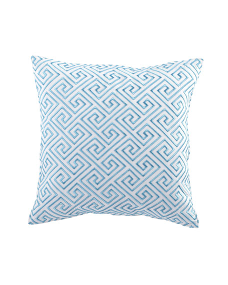 "Turquoise Trellis Greek Key Pillow with Embroidery, 18""Sq."