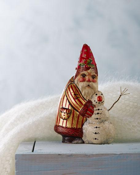 Santa Building Snowman