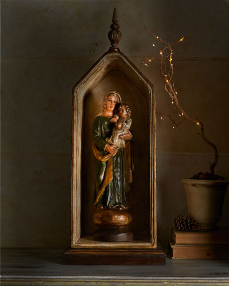 Wooden Niche with Madonna & Child