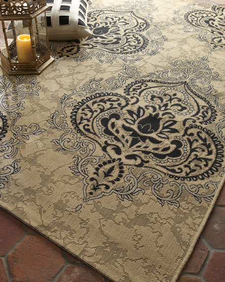 "Outdoor Damask Rug, 5'3"" x 7'7"""