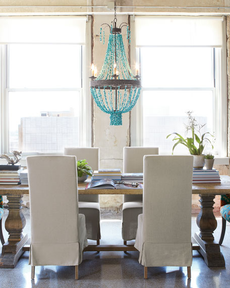 Turquoise Beads 6-Light Chandelier
