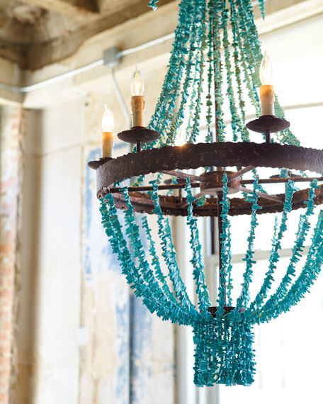Regina Andrew Design Turquoise Beads 6 Light Chandelier