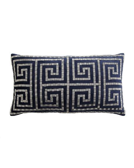 "St. Martin Greek Key Beaded Pillow, 14"" x 25"""