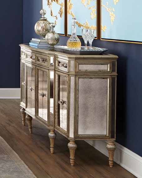 mirrored sideboard table dresden four door mirrored buffet 4166