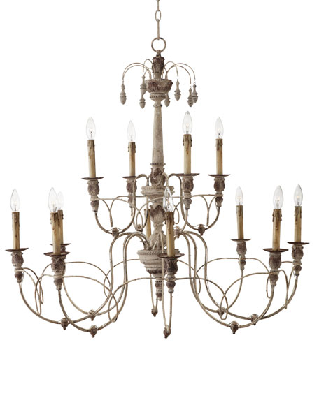 Salento 12 light white two tier chandelier aloadofball Choice Image