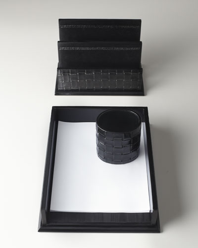 Black Woven Leather Document Tray