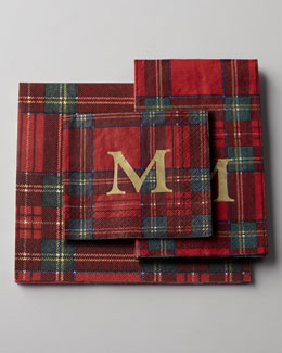 100 Royal Plaid Personalized Dinner Napkins