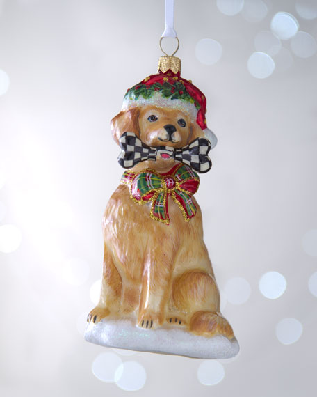 mackenzie childs golden retriever christmas ornament