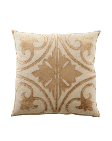 "Ivory & Taupe Venice Collection 22""Sq. Pillow"