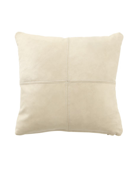 Cream Leather Pillow