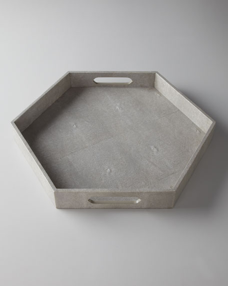 Ivory Faux-Shagreen Hexagonal Tray