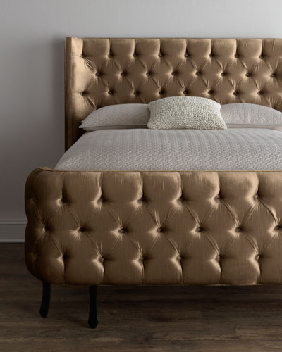 Taupe Velvet Larkspur King Bed