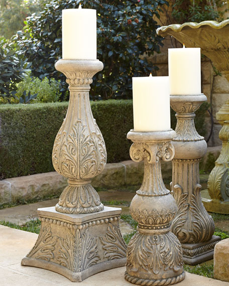 "36""T Cast-Stone Candlestick"