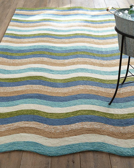 "Caribbean Waves Indoor/Outdoor Rug, 3'5"" x 5'5"""