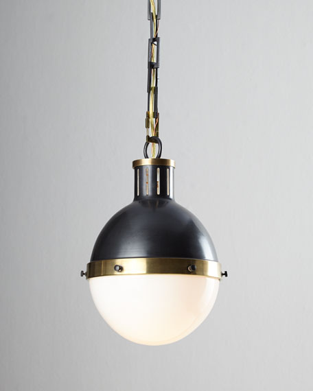 Hicks 2-Light Large Bronze with Antiqued Brass Pendant - Visual Comfort Hicks Bronze With Antiqued Brass Pendant Light