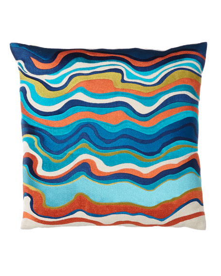 """Blue/Multicolored Waterflow Pillow, 20""""Sq."""