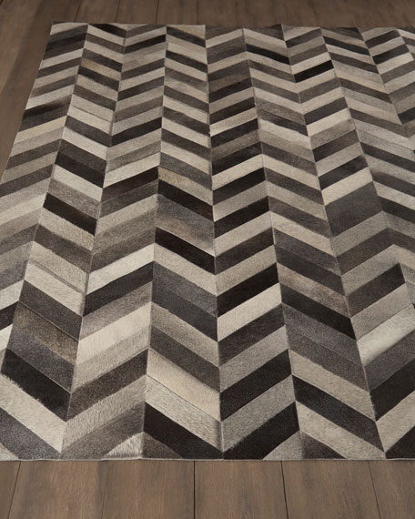 Chevron Hide Rug, 6' x 9'