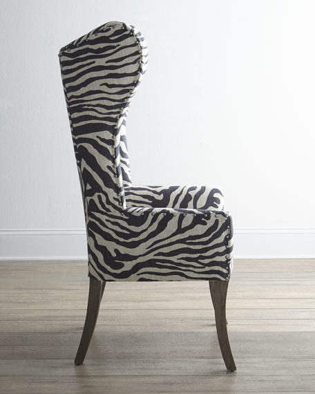 Kayla Zebra Print Wingback Chair