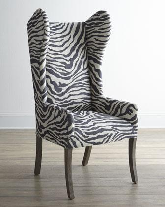 Kayla Zebra Print Wingback Chair