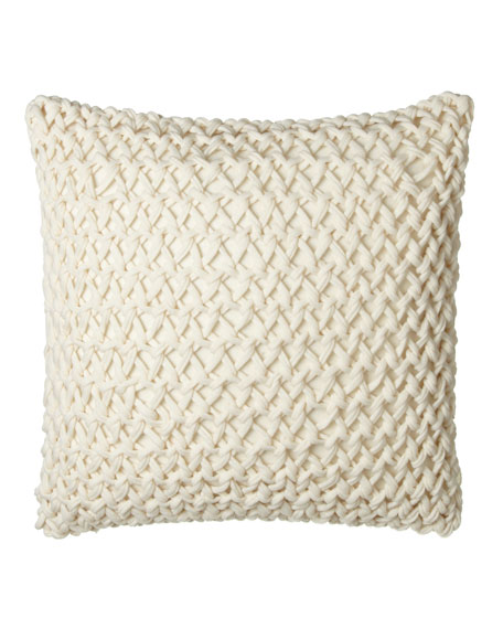 "Knotted-Yarn European Pillow, 25""Sq."