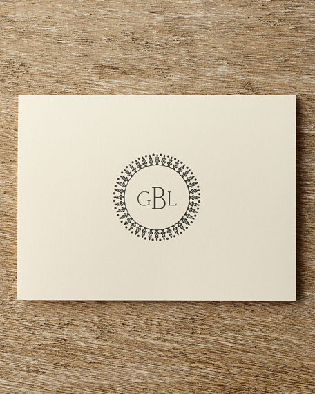 50 Circle Monogram Folded Notes with Personalized Envelopes