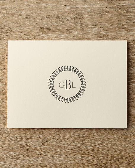 50 Circle Monogram Folded Notes with Personalized Envelopes