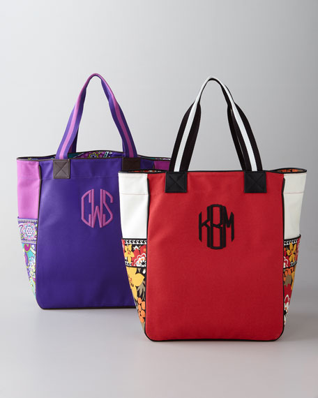 Large Colorblock Tote, Monogrammed