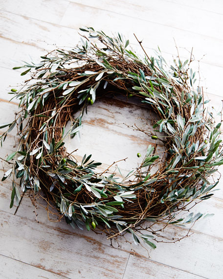 """Olive and Twig Wreath, 28""""Dia."""