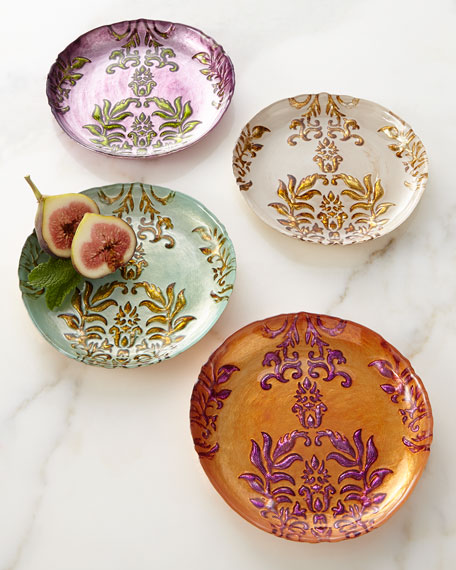 & Four Damask Canape Plates