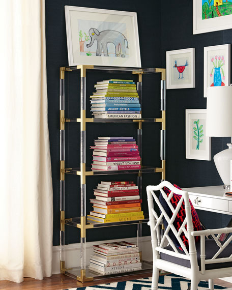 Jacques Acrylic & Brass Etagere