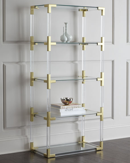 Jacques Lucite & Brass Etagere