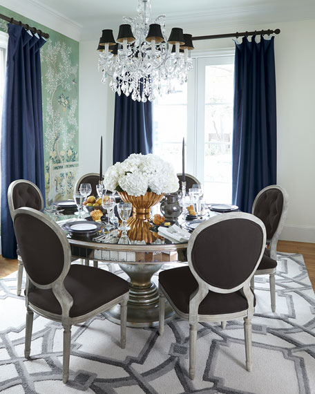 Merveilleux Lisandra Antiqued Mirrored Round Dining Table