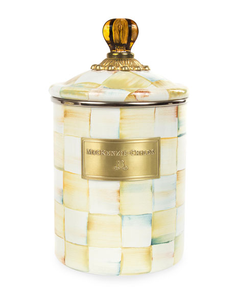 MacKenzie-Childs Medium Parchment Check Canister